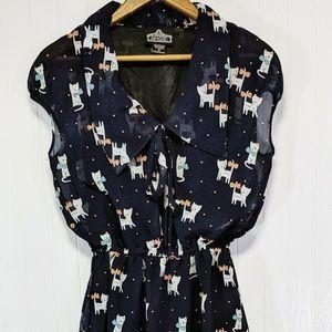 Angie Dress Small S Navy Blue Cat Print Sleeveless